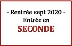 Inscription des entrants en classe de Seconde à la rentrée 2020 !