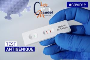 Tests antigéniques (COVID 19) le 29 janvier 2021 au lycée Camille Claudel de 09h30 à 16h30.